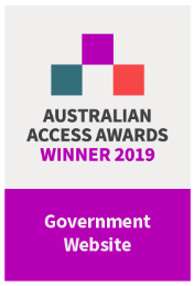 Australian Access Awards 2019 Winner badge Government Website of the Year